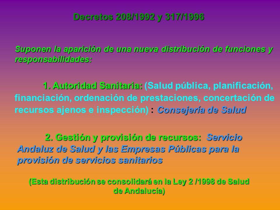 Decretos 208/1992 y 317/1996 Suponen la aparición de una nueva distribución de funciones y responsabilidades: