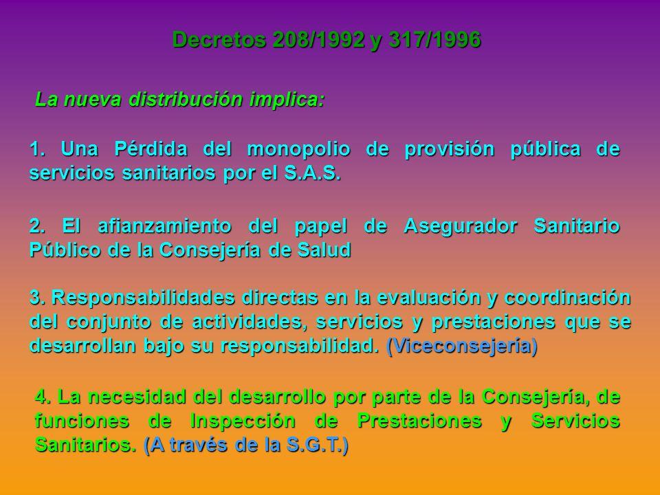 Decretos 208/1992 y 317/1996 La nueva distribución implica: