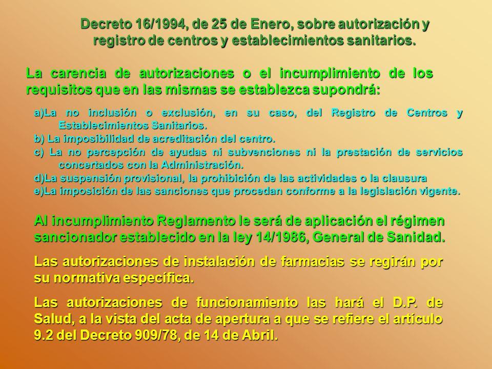 Decreto 16/1994, de 25 de Enero, sobre autorización y registro de centros y establecimientos sanitarios.