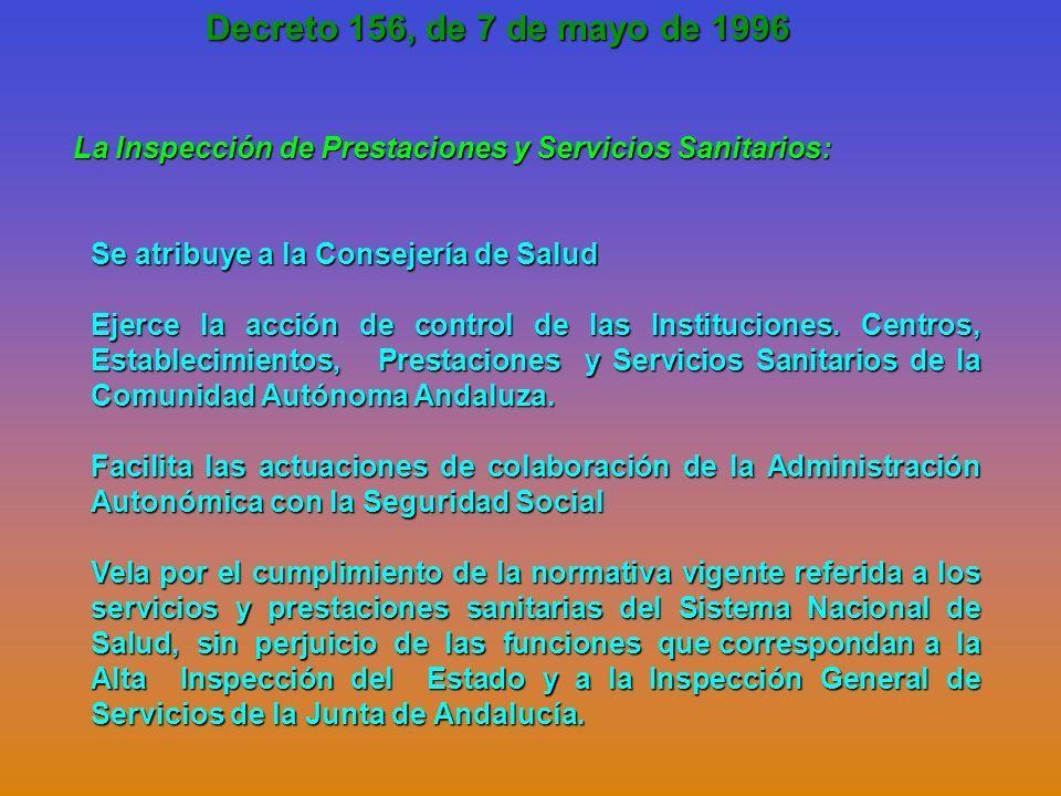 Decreto 156, de 7 de mayo de 1996 La Inspección de Prestaciones y Servicios Sanitarios: Se atribuye a la Consejería de Salud.