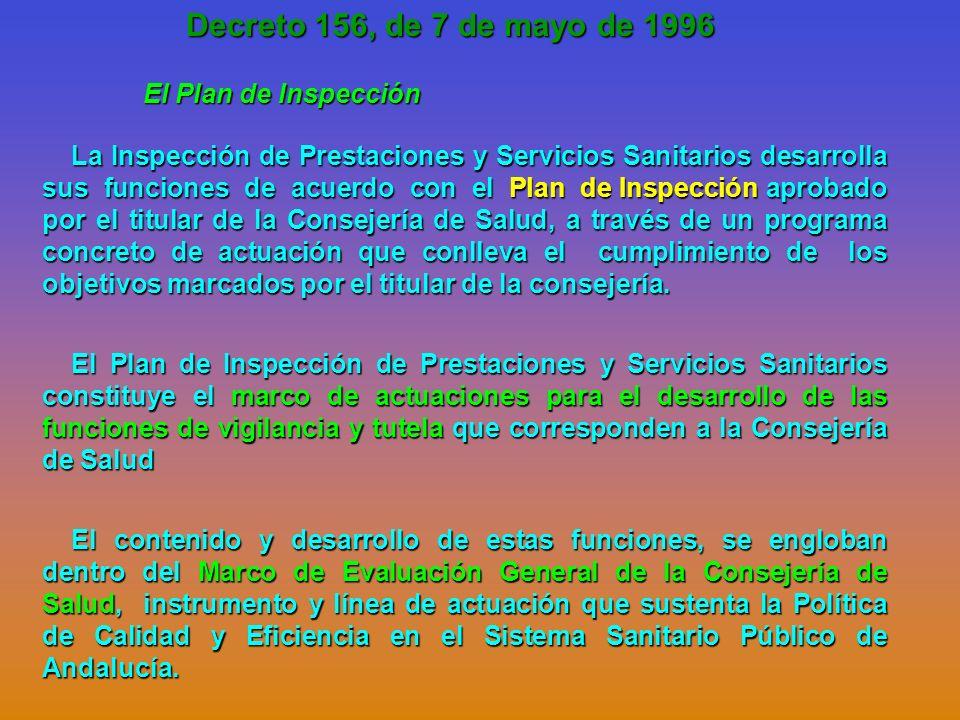 Decreto 156, de 7 de mayo de 1996 El Plan de Inspección