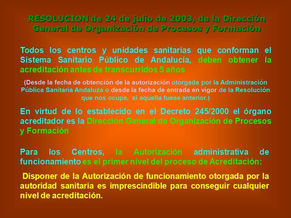 RESOLUCION de 24 de julio de 2003, de la Dirección General de Organización de Procesos y Formación