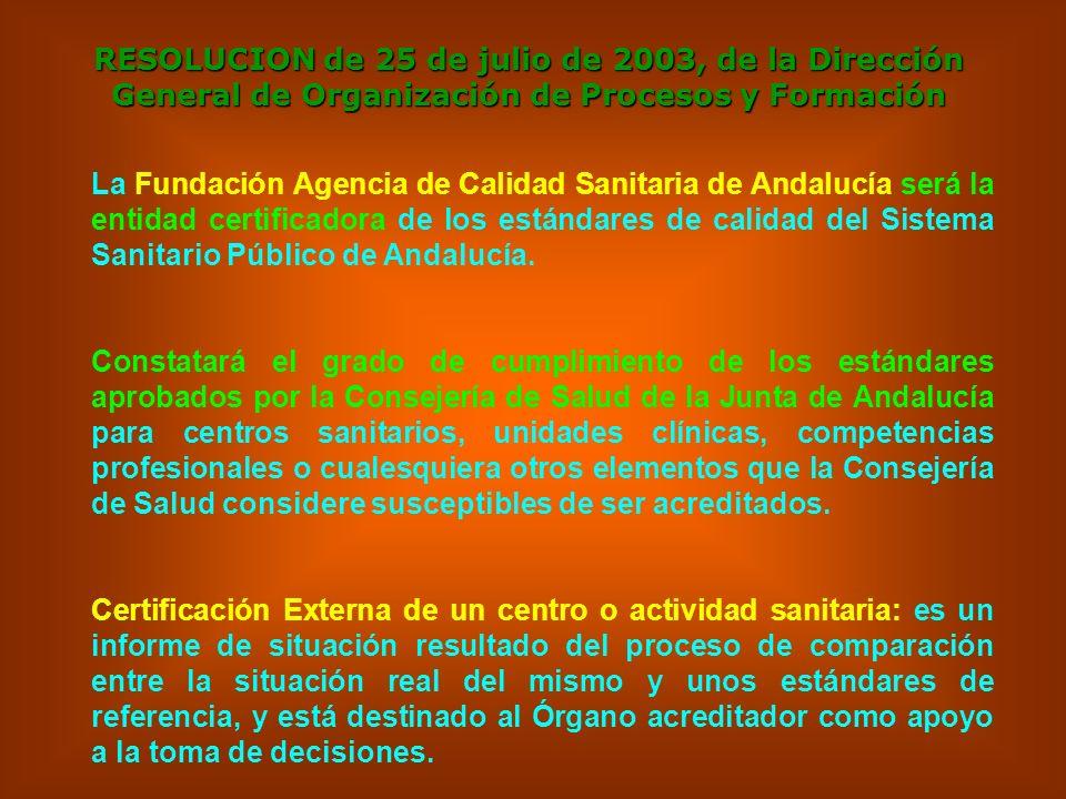 RESOLUCION de 25 de julio de 2003, de la Dirección General de Organización de Procesos y Formación