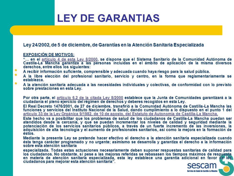 LEY DE GARANTIAS Ley 24/2002, de 5 de diciembre, de Garantías en la Atención Sanitaria Especializada.