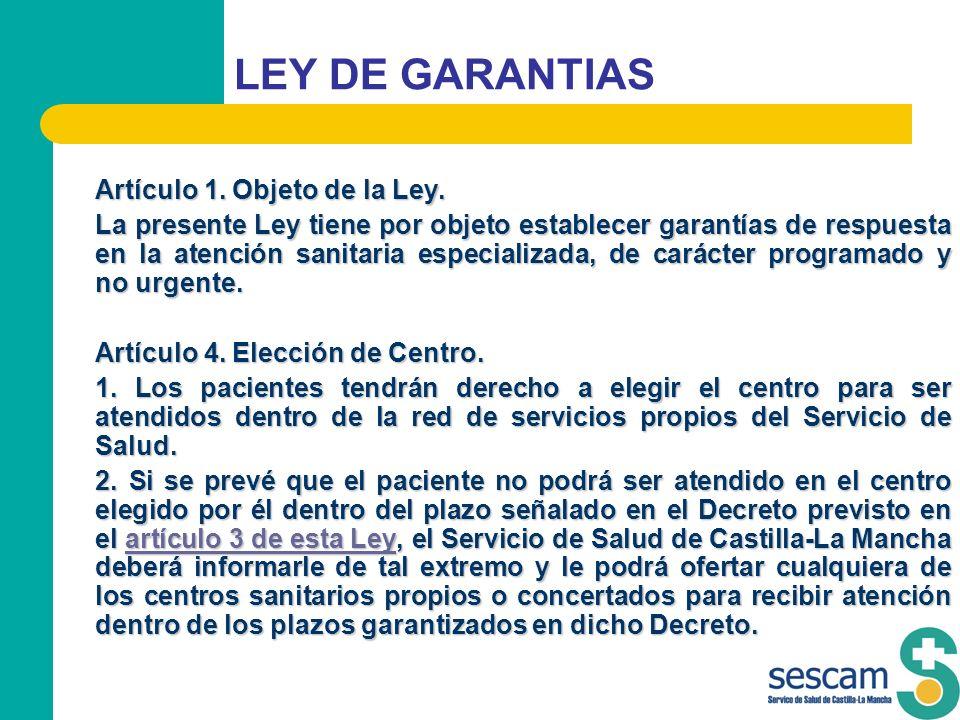 LEY DE GARANTIAS Artículo 1. Objeto de la Ley.