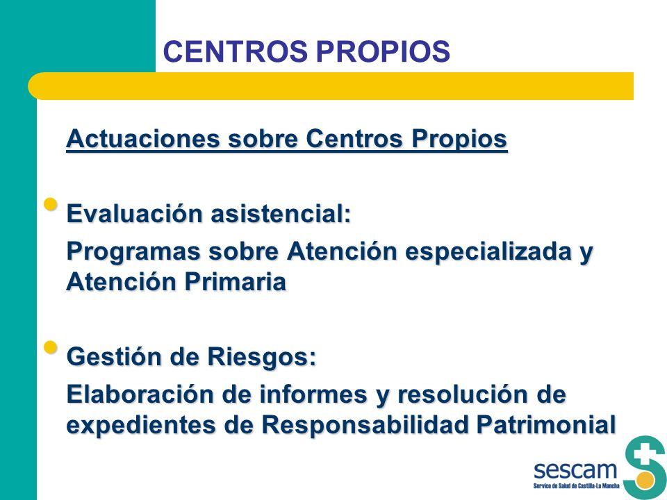 CENTROS PROPIOS Actuaciones sobre Centros Propios