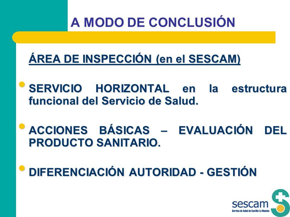 A MODO DE CONCLUSIÓN ÁREA DE INSPECCIÓN (en el SESCAM)