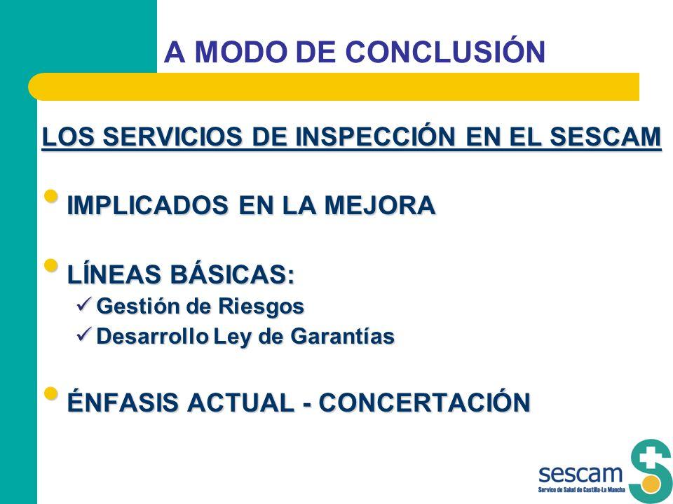 A MODO DE CONCLUSIÓN LOS SERVICIOS DE INSPECCIÓN EN EL SESCAM
