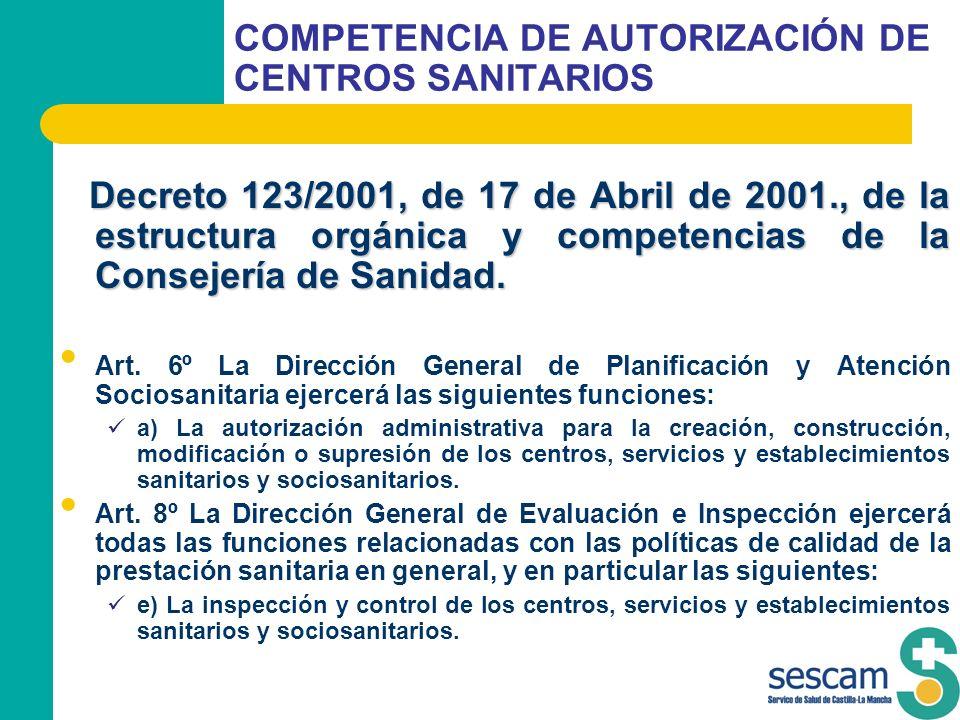 COMPETENCIA DE AUTORIZACIÓN DE CENTROS SANITARIOS