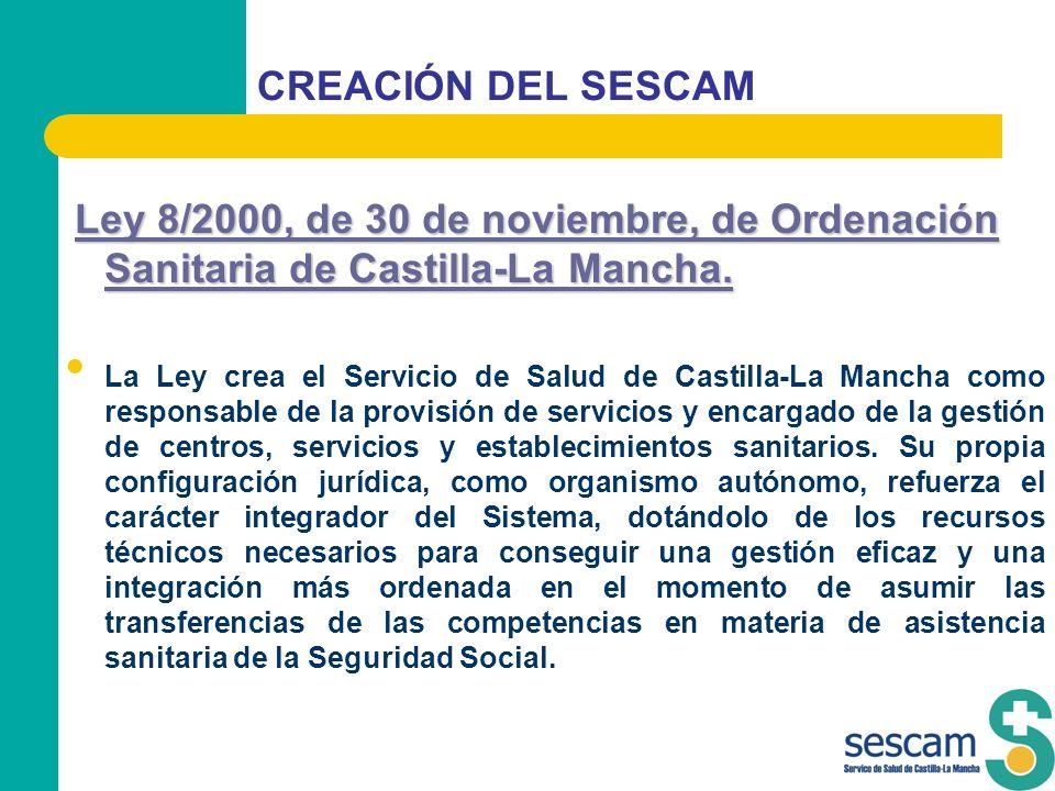 CREACIÓN DEL SESCAM Ley 8/2000, de 30 de noviembre, de Ordenación Sanitaria de Castilla-La Mancha.