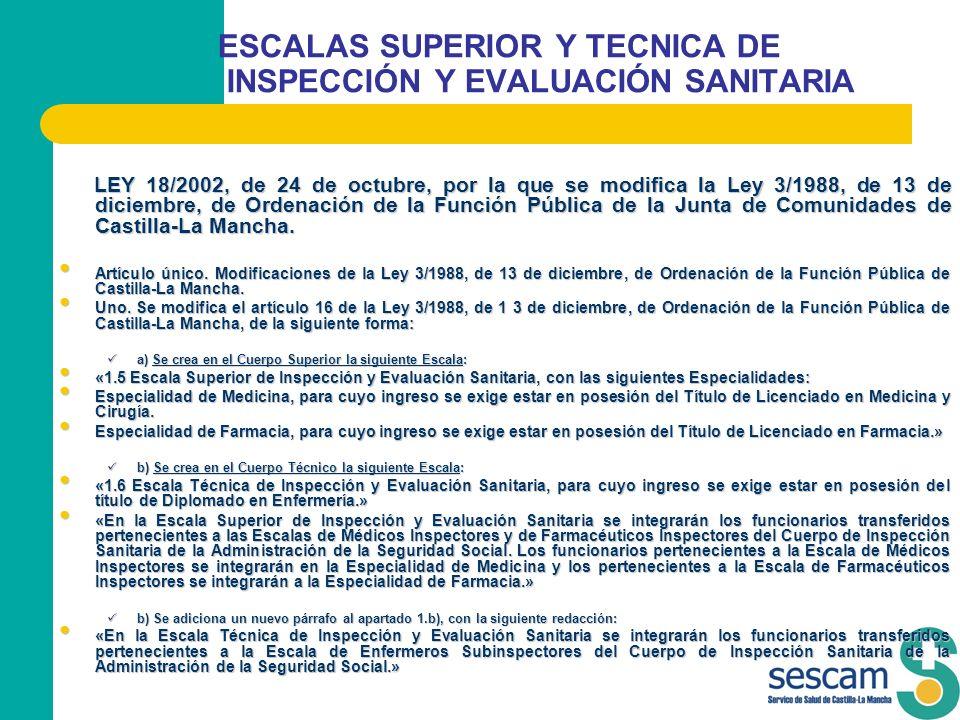 ESCALAS SUPERIOR Y TECNICA DE INSPECCIÓN Y EVALUACIÓN SANITARIA