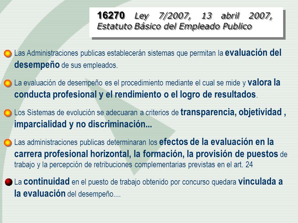 16270 Ley 7/2007, 13 abril 2007, Estatuto Básico del Empleado Publico