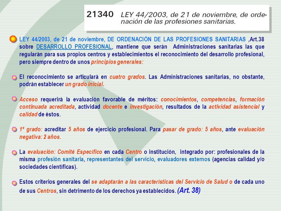 LEY 44/2003, de 21 de noviembre, DE ORDENACIÓN DE LAS PROFESIONES SANITARIAS ,Art.38 sobre DESARROLLO PROFESIONAL, mantiene que serán Administraciones sanitarias las que regularán para sus propios centros y establecimientos el reconocimiento del desarrollo profesional, pero siempre dentro de unos principios generales: