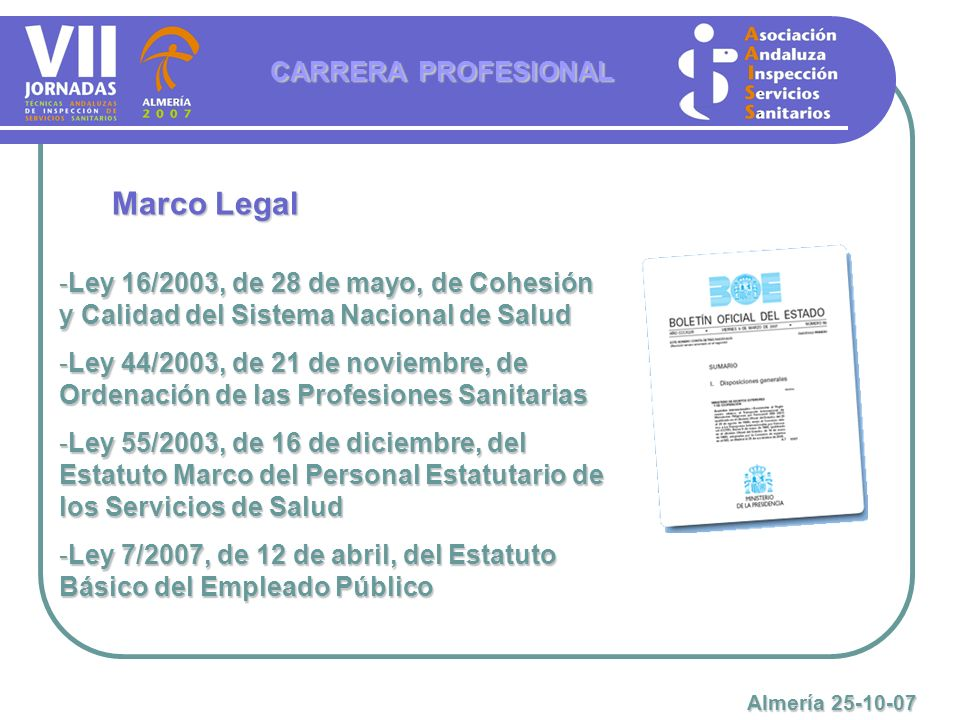 Marco Legal CARRERA PROFESIONAL