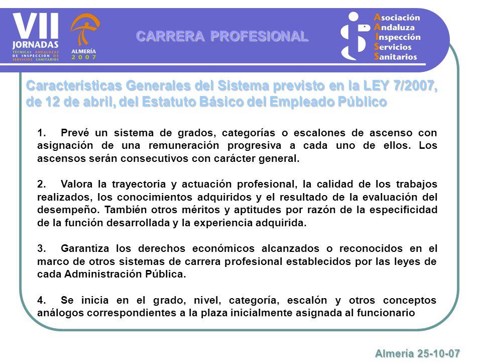 CARRERA PROFESIONAL Características Generales del Sistema previsto en la LEY 7/2007, de 12 de abril, del Estatuto Básico del Empleado Público.