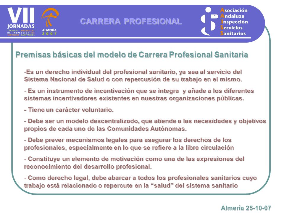 Premisas básicas del modelo de Carrera Profesional Sanitaria