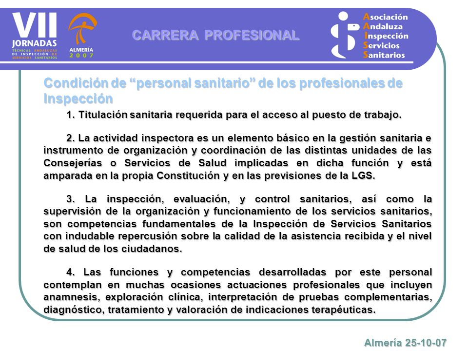 Condición de personal sanitario de los profesionales de Inspección