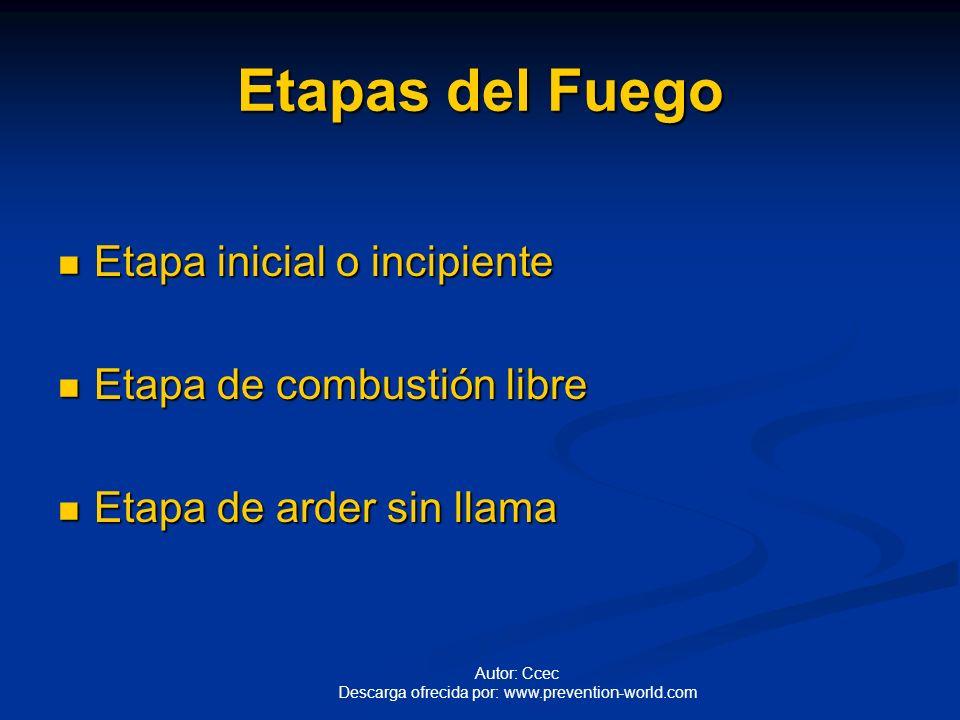 Etapas del Fuego Etapa inicial o incipiente Etapa de combustión libre