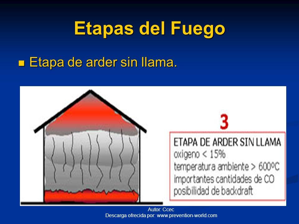 Etapas del Fuego Etapa de arder sin llama.