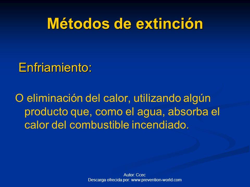 Métodos de extinción Enfriamiento: