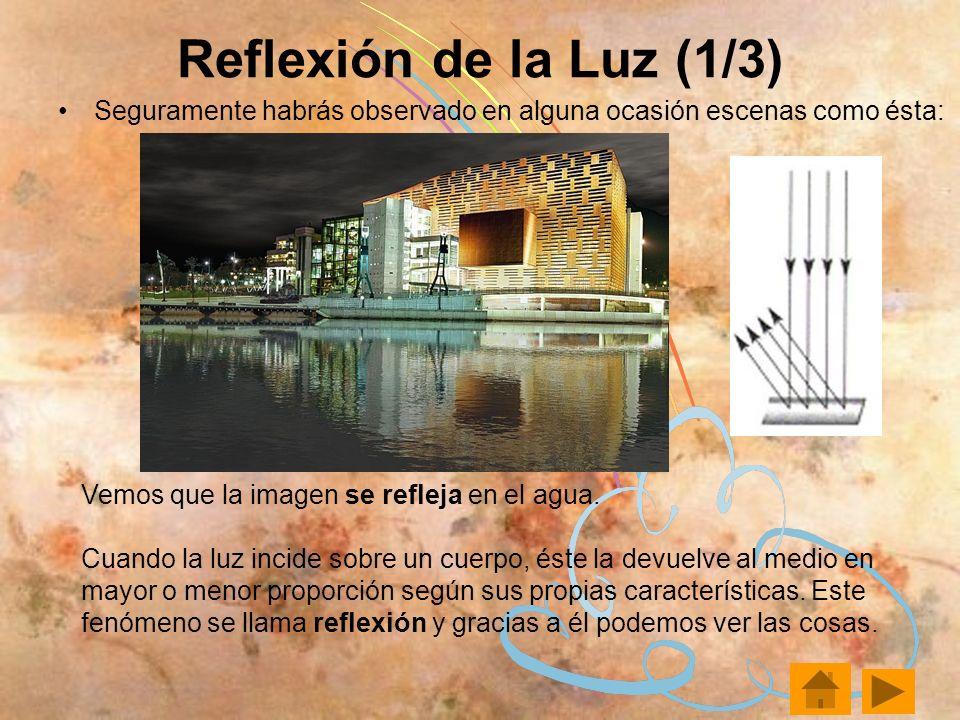 Reflexión de la Luz (1/3) Seguramente habrás observado en alguna ocasión escenas como ésta: Vemos que la imagen se refleja en el agua.