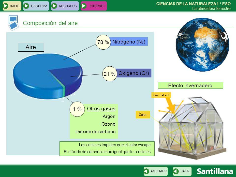 Composición del aire Aire 78 % Nitrógeno (N2) 21 % Oxígeno (O2)