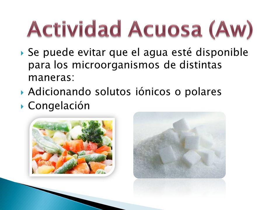 Actividad Acuosa (Aw) Se puede evitar que el agua esté disponible para los microorganismos de distintas maneras: