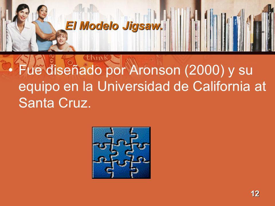El Modelo Jigsaw. Fue diseñado por Aronson (2000) y su equipo en la Universidad de California at Santa Cruz.