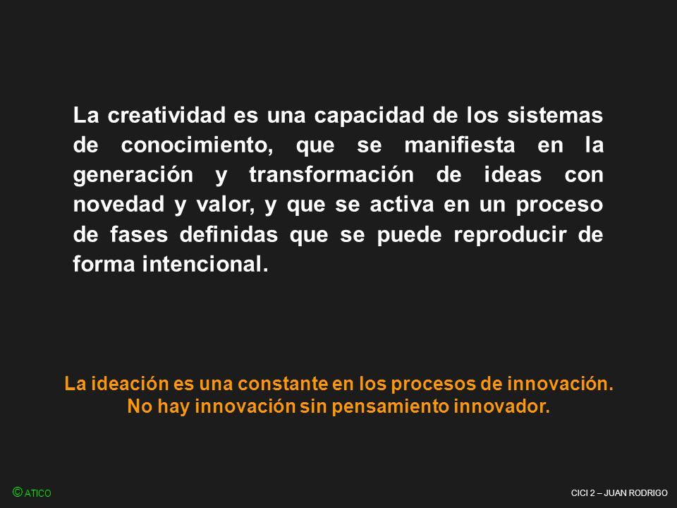 La creatividad es una capacidad de los sistemas de conocimiento, que se manifiesta en la generación y transformación de ideas con novedad y valor, y que se activa en un proceso de fases definidas que se puede reproducir de forma intencional.