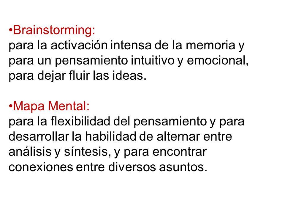 Brainstorming: para la activación intensa de la memoria y para un pensamiento intuitivo y emocional, para dejar fluir las ideas.