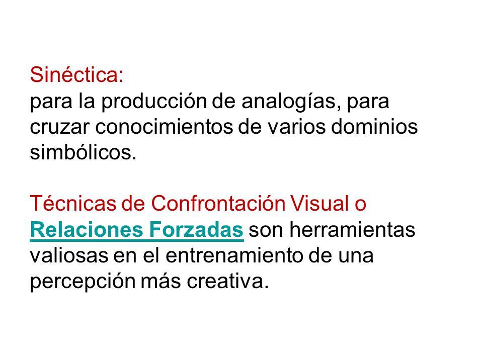 Sinéctica: para la producción de analogías, para cruzar conocimientos de varios dominios simbólicos.