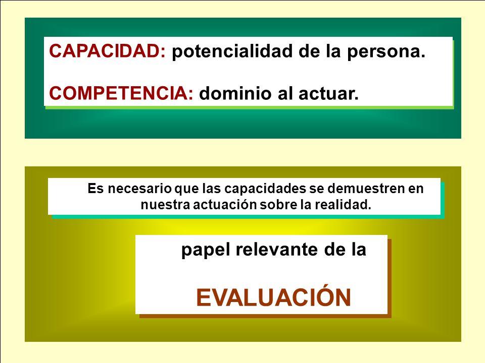 EVALUACIÓN CAPACIDAD: potencialidad de la persona.
