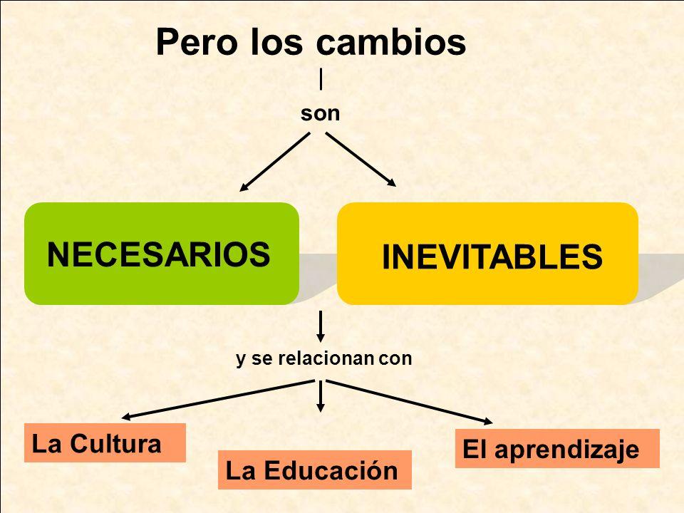 Pero los cambios NECESARIOS INEVITABLES La Cultura El aprendizaje