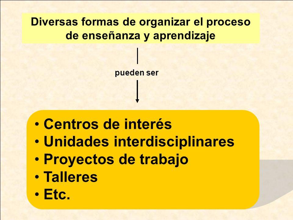 Diversas formas de organizar el proceso de enseñanza y aprendizaje