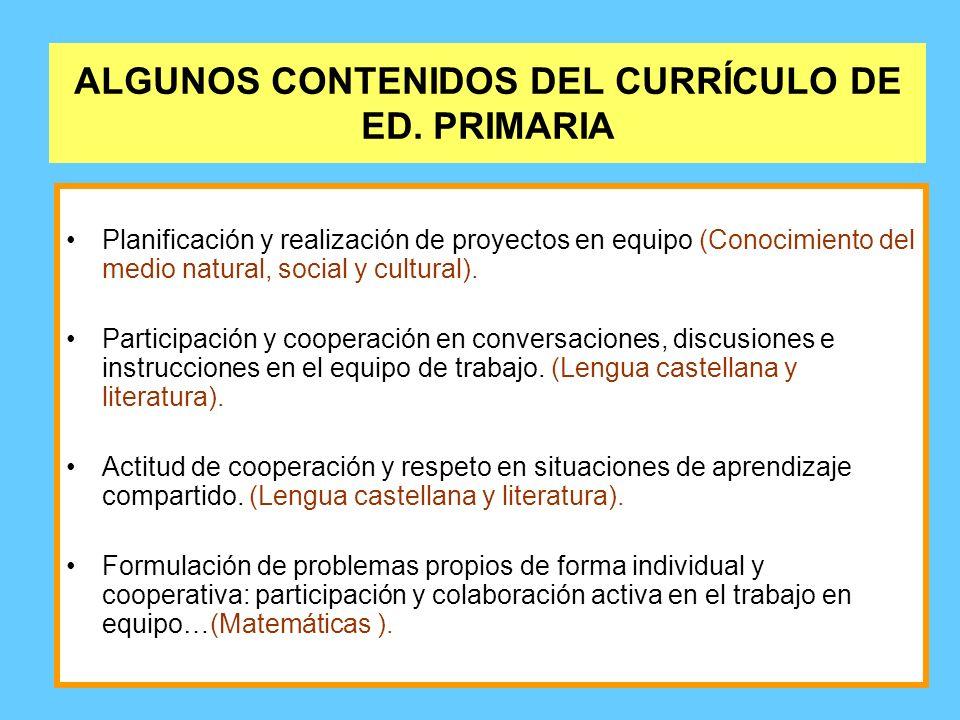 ALGUNOS CONTENIDOS DEL CURRÍCULO DE ED. PRIMARIA