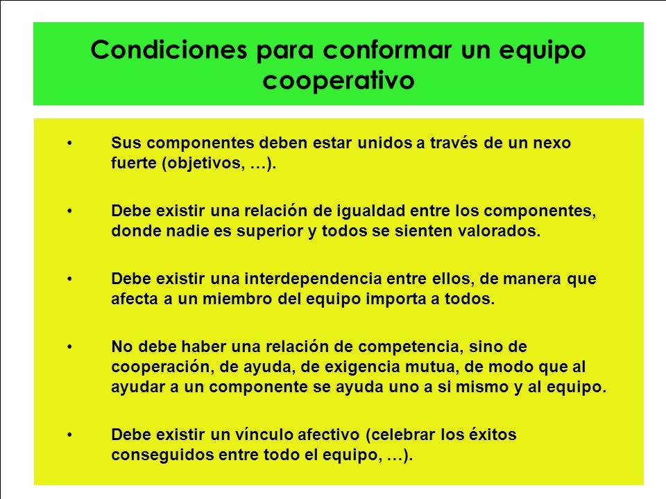 Condiciones para conformar un equipo cooperativo