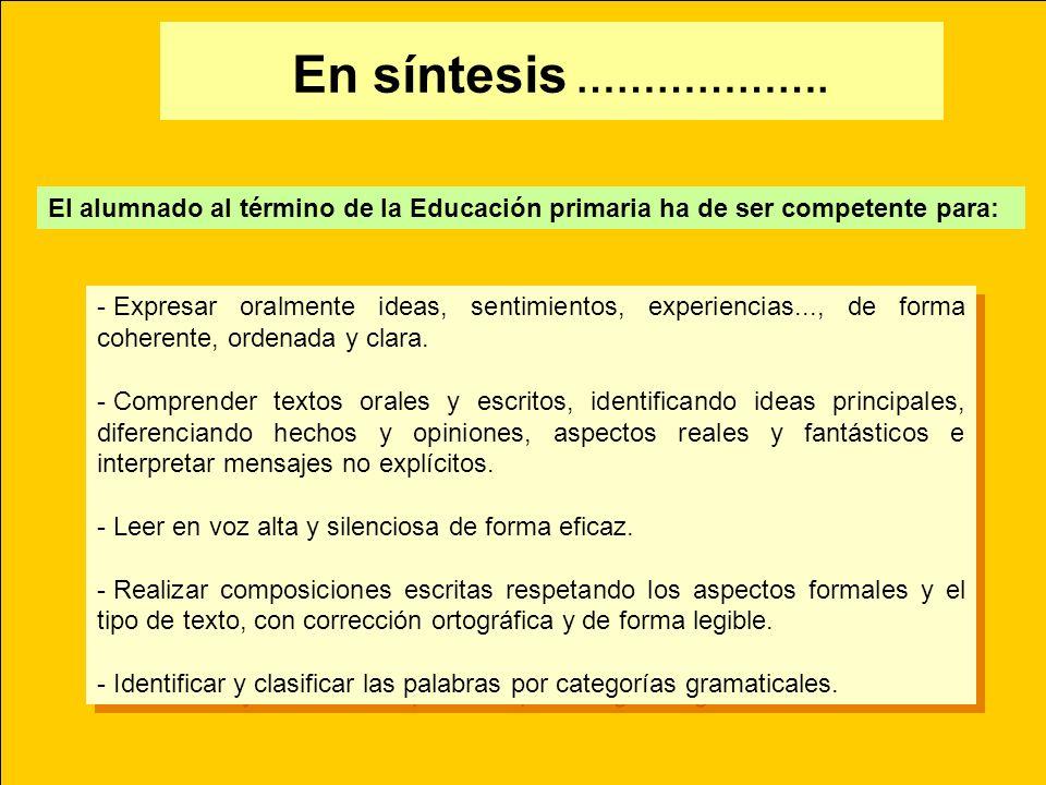 En síntesis ………………. El alumnado al término de la Educación primaria ha de ser competente para: