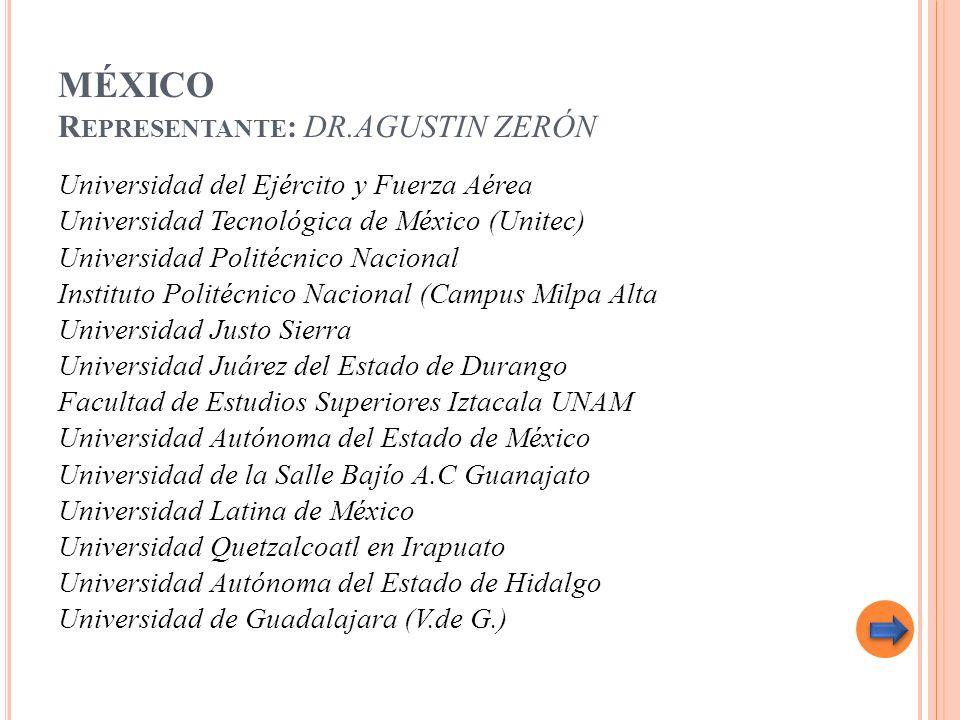 MÉXICO Representante: DR.AGUSTIN ZERÓN