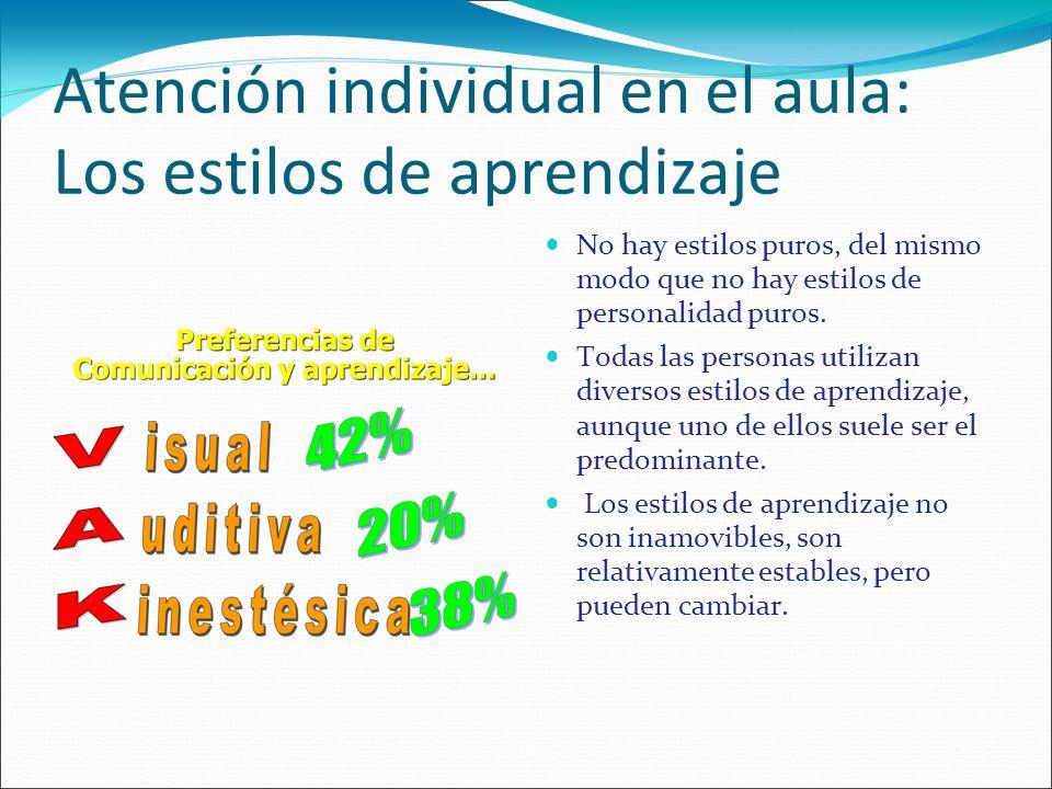 Atención individual en el aula: Los estilos de aprendizaje