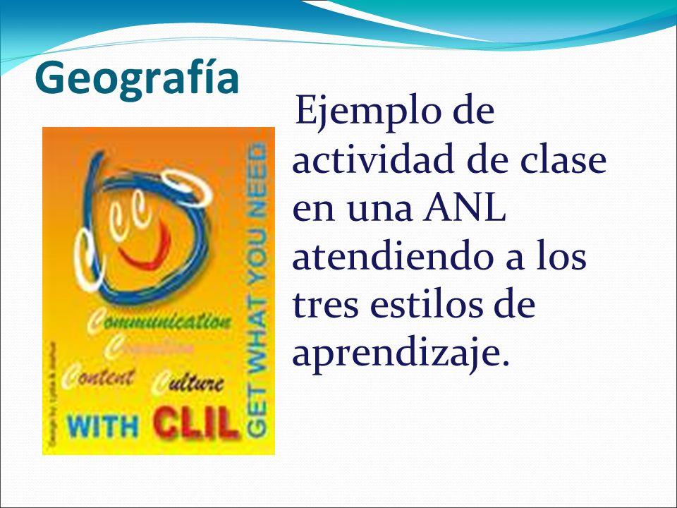 Geografía Ejemplo de actividad de clase en una ANL atendiendo a los tres estilos de aprendizaje.