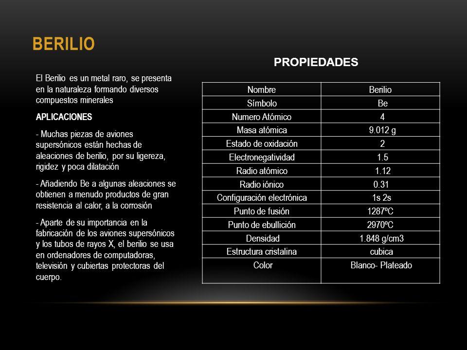 BERILIO PROPIEDADES Nombre Berilio Símbolo Be Numero Atómico 4