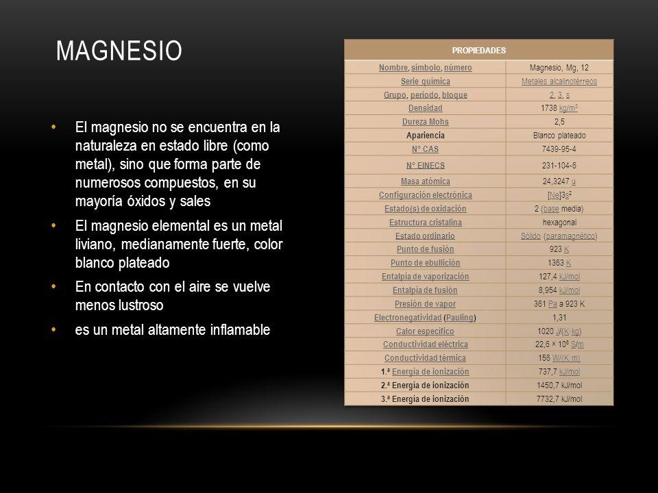 MAGNESIO PROPIEDADES. Nombre, símbolo, número. Magnesio, Mg, 12. Serie química. Metales alcalinotérreos.
