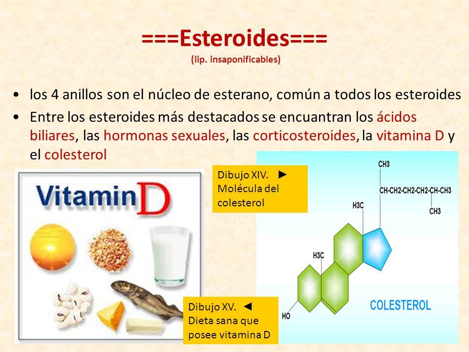 ===Esteroides=== (lip. insaponificables)
