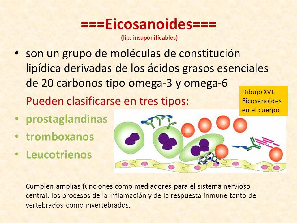 ===Eicosanoides=== (lip. insaponificables)