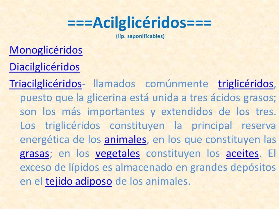 ===Acilglicéridos=== (lip. saponificables)