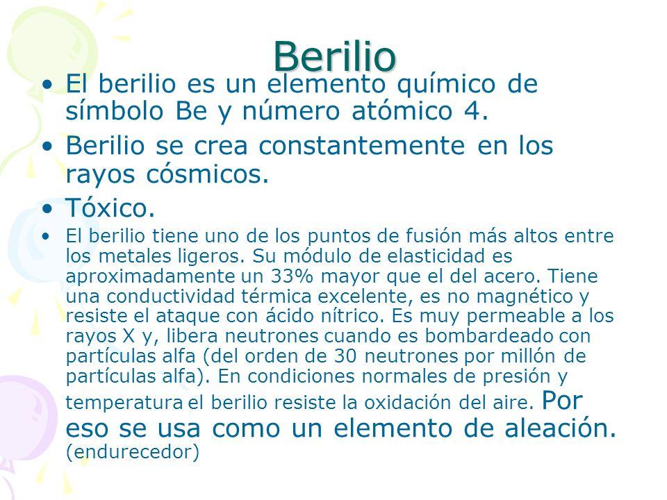 BerilioEl berilio es un elemento químico de símbolo Be y número atómico 4. Berilio se crea constantemente en los rayos cósmicos.