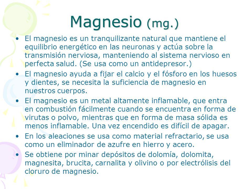 Magnesio (mg.)