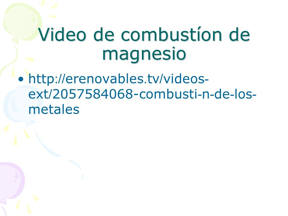 Video de combustíon de magnesio