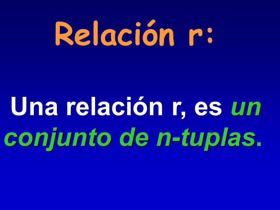 Relación r: Una relación r, es un conjunto de n-tuplas.