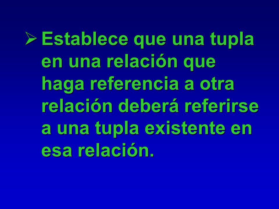 Establece que una tupla en una relación que haga referencia a otra relación deberá referirse a una tupla existente en esa relación.